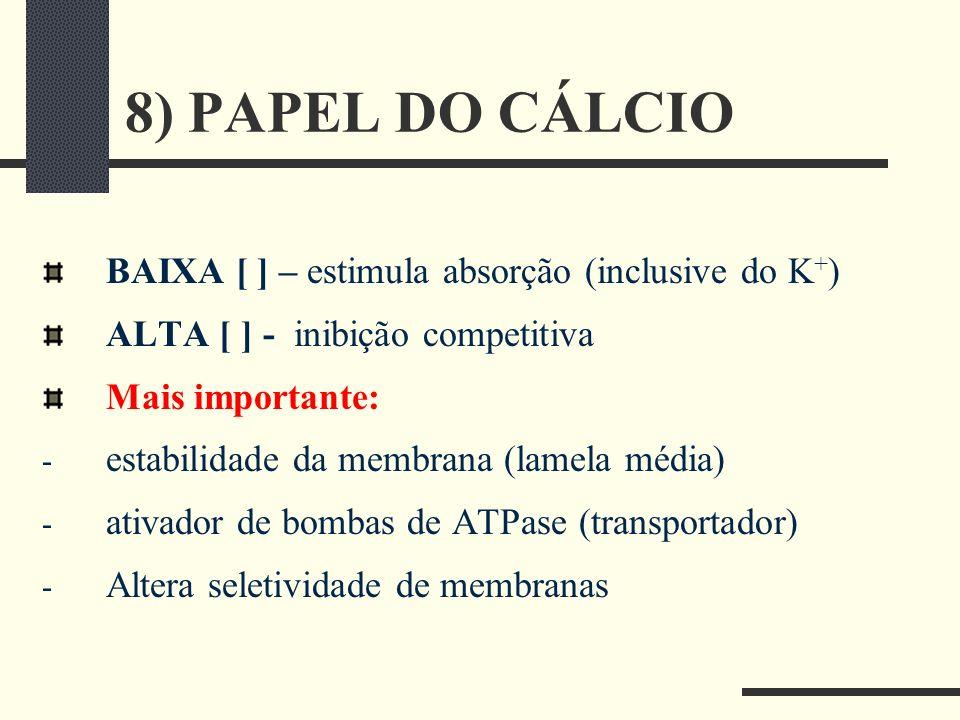 8) PAPEL DO CÁLCIO BAIXA [ ] – estimula absorção (inclusive do K+)